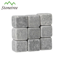 9 Pcs Per Set Engraved Grey Lava Wine Stone For Bar Accessories